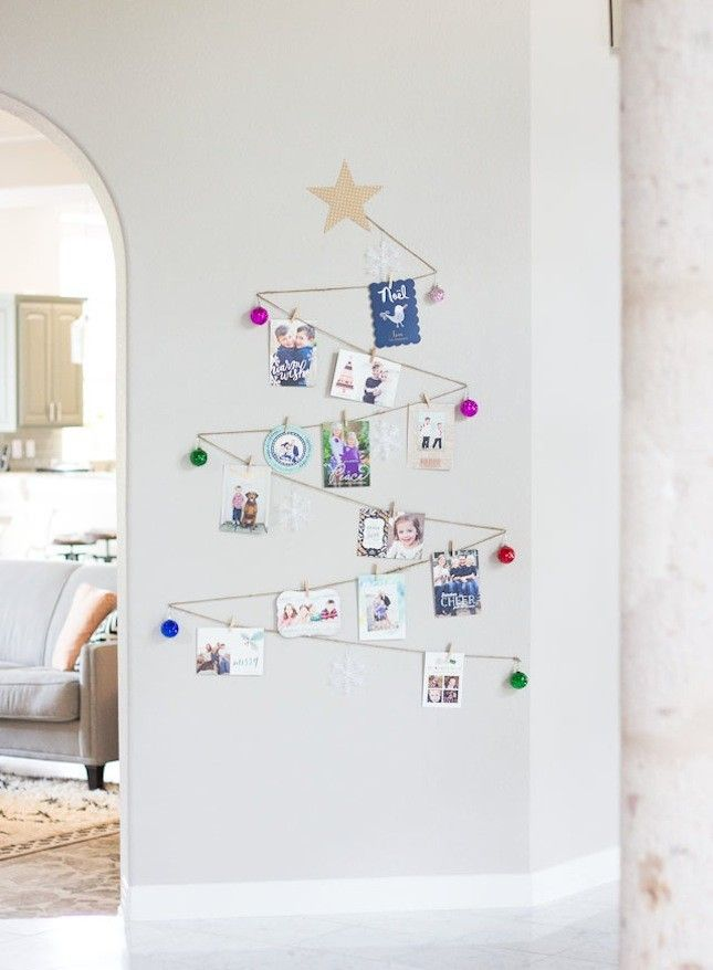 If You Re Expecting Lots Of Holiday Cards This Christmas Hang Them Up With A String Wall Tree