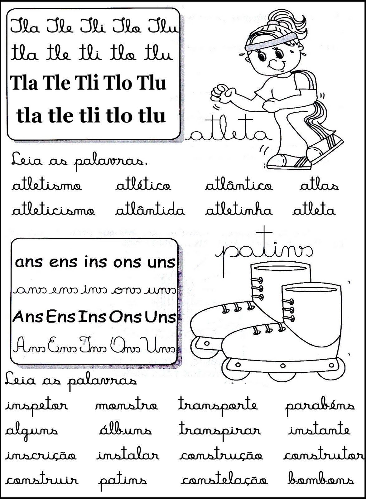 Cantinho Da Educacao Silabas Complexas Fichas De Leitura Com