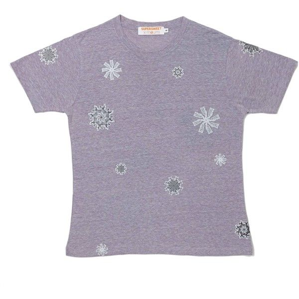 SUPERSWEET x moumi - Catwheels Tee (2.505 RUB) ❤ liked on Polyvore featuring tops, t-shirts, cotton tees, purple tee, cotton t shirts, purple top and purple t shirt