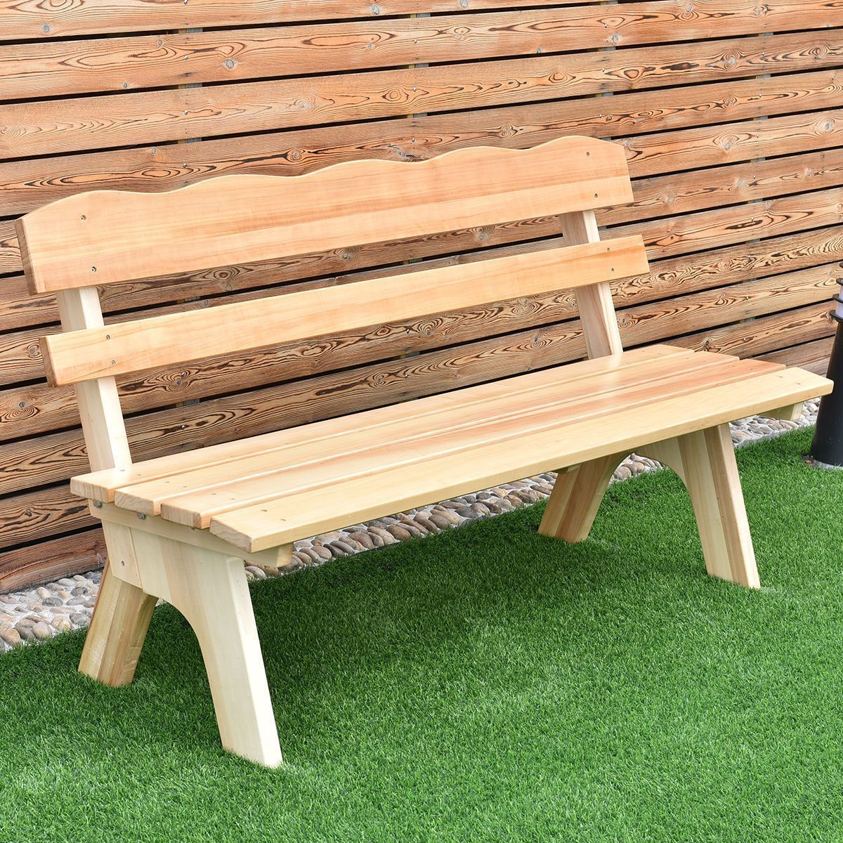 Wondrous 5 Ft 3 Seats Outdoor Wooden Garden Bench Chair Modern Wood Dailytribune Chair Design For Home Dailytribuneorg