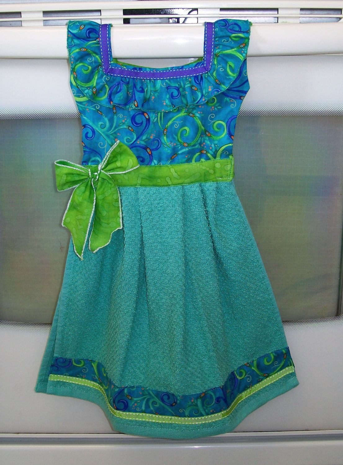 Fantasy Dish Towel Dress in Green Purple & by WoopsaDaisies   Pour ...