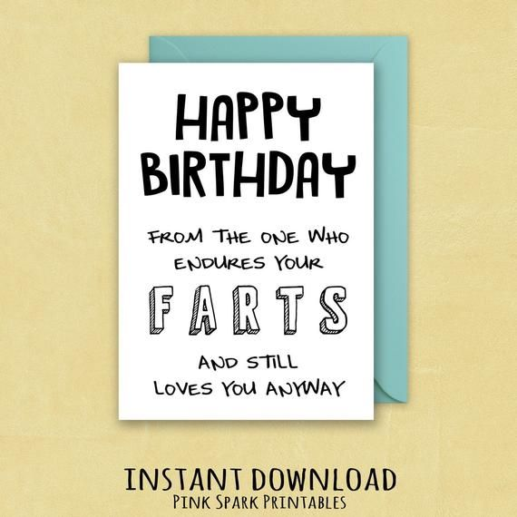 Funny Birthday Card Fart Bday Gift Husband Humor Greeti
