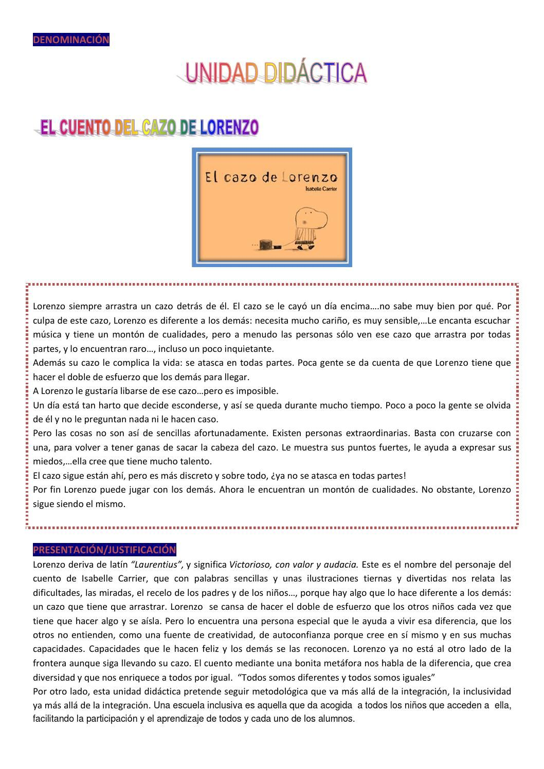 Unidad didáctica el cazo de Lorenzo | EDUCACIÓN EMOCIONAL | Pinterest