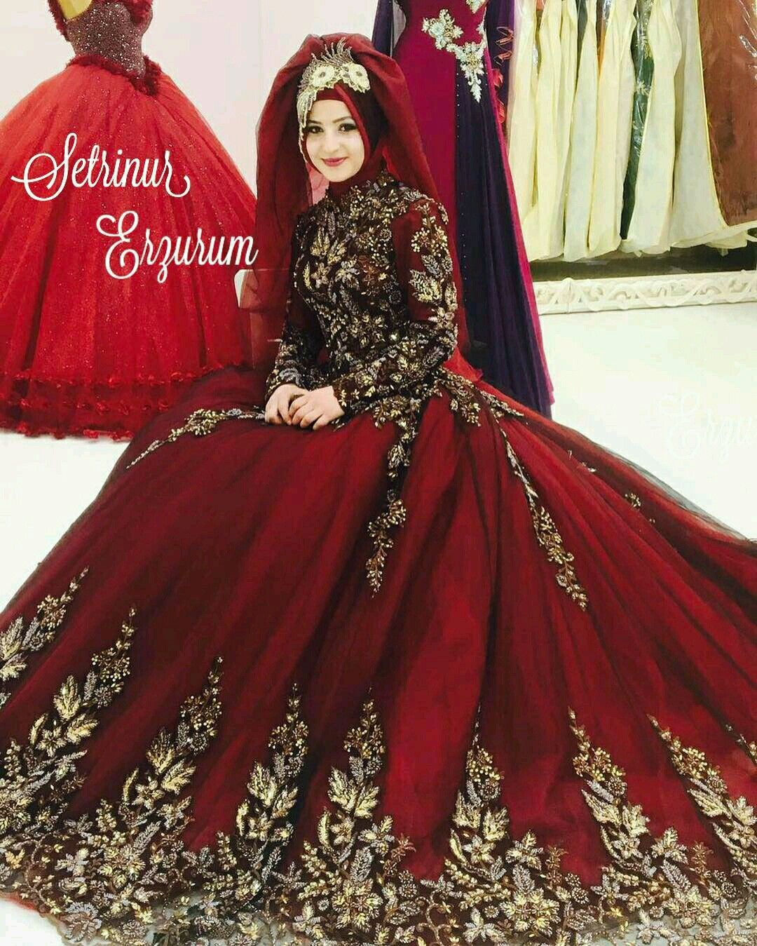 Wedding Hijab Styles Muslim Dresses Ball Gowns Long Prom Outfits Bridal Brides Gown