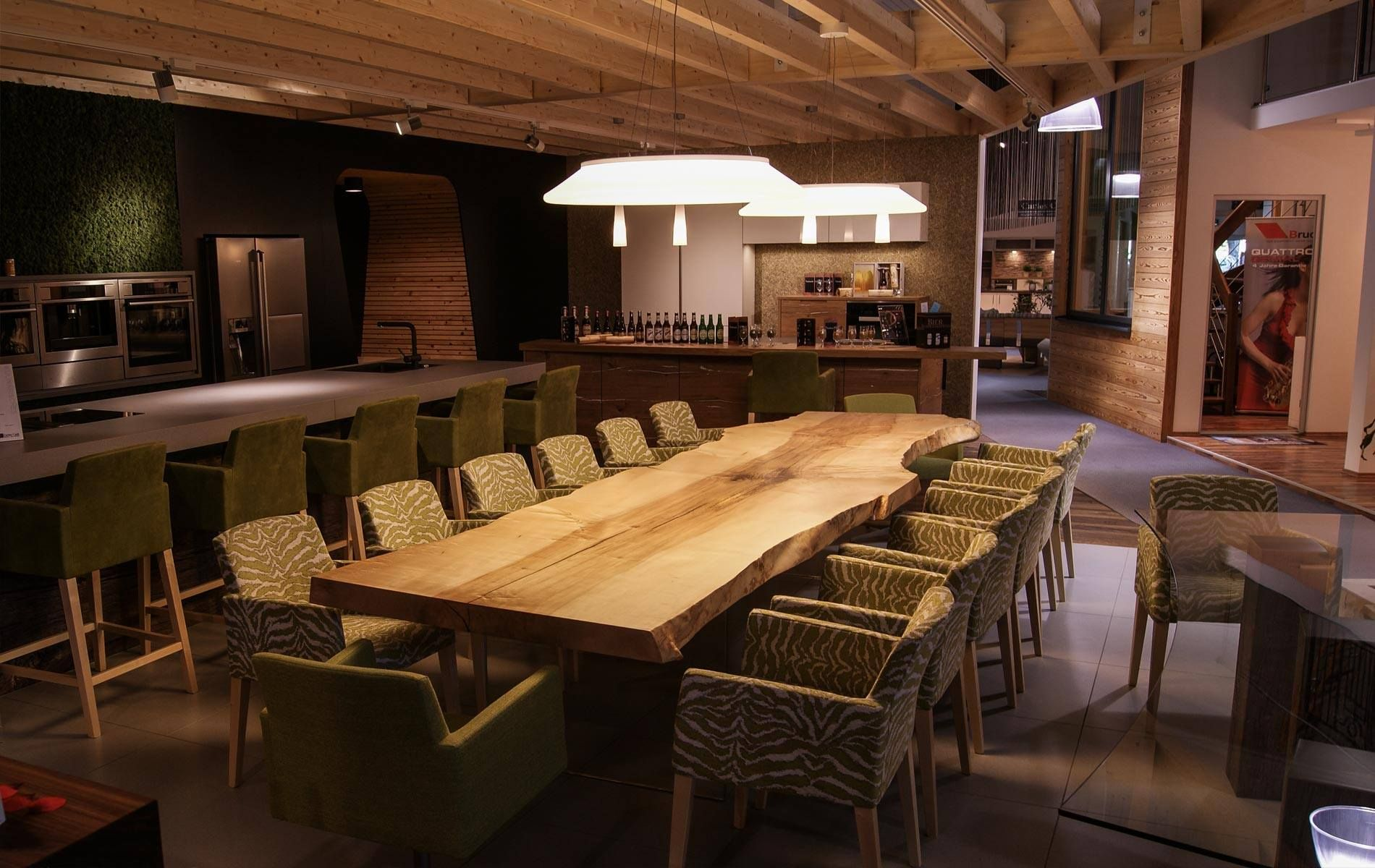 Dining Or Office Table For 14 People Here On A Interior Design Exhibition Massive Table Wooden Live Edge Dining Table Design Natural Wood Table Table