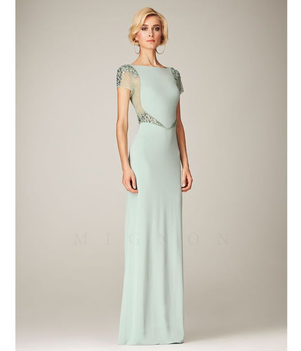 Mignon VM1289B Mint Bateau Beaded Cap Sleeve Long Dress 2015 Prom Dresses
