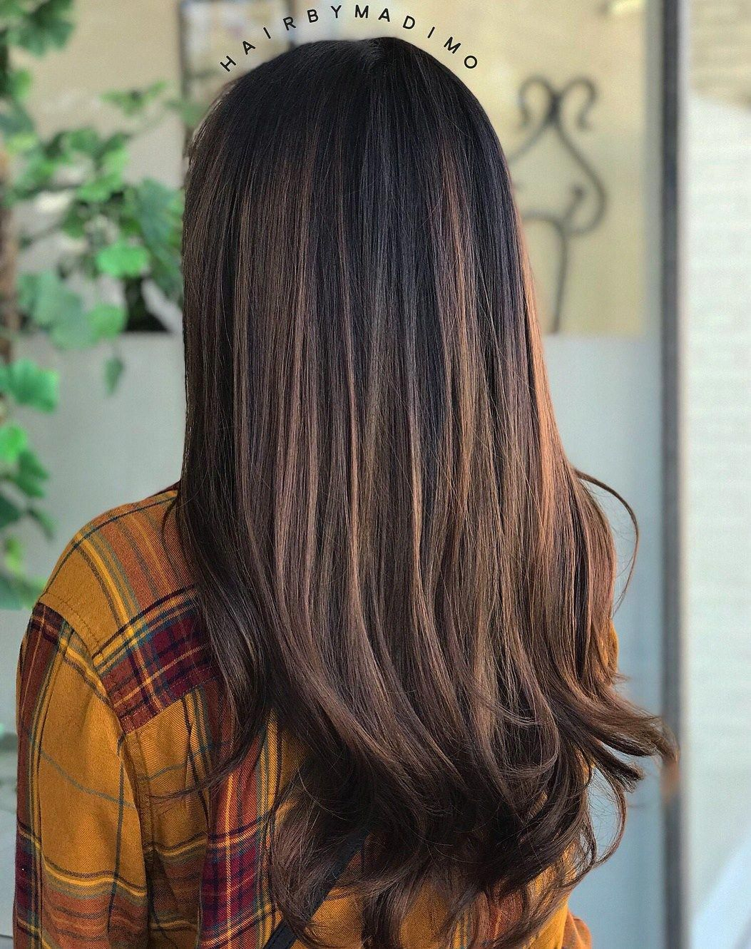 Brushed Chocolate Highlights For Straight Black Hair Darkbrunettehair Hair Color For Black Hair Black Hair Balayage Black Hair With Highlights