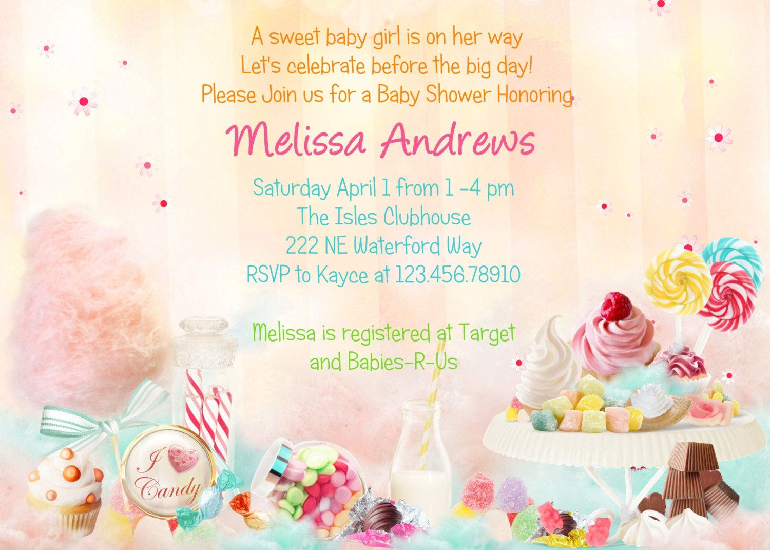 Magnificent candy themed baby shower invitations ensign invitation candy theme baby shower invitation sweet 16 printable and custom stopboris Image collections