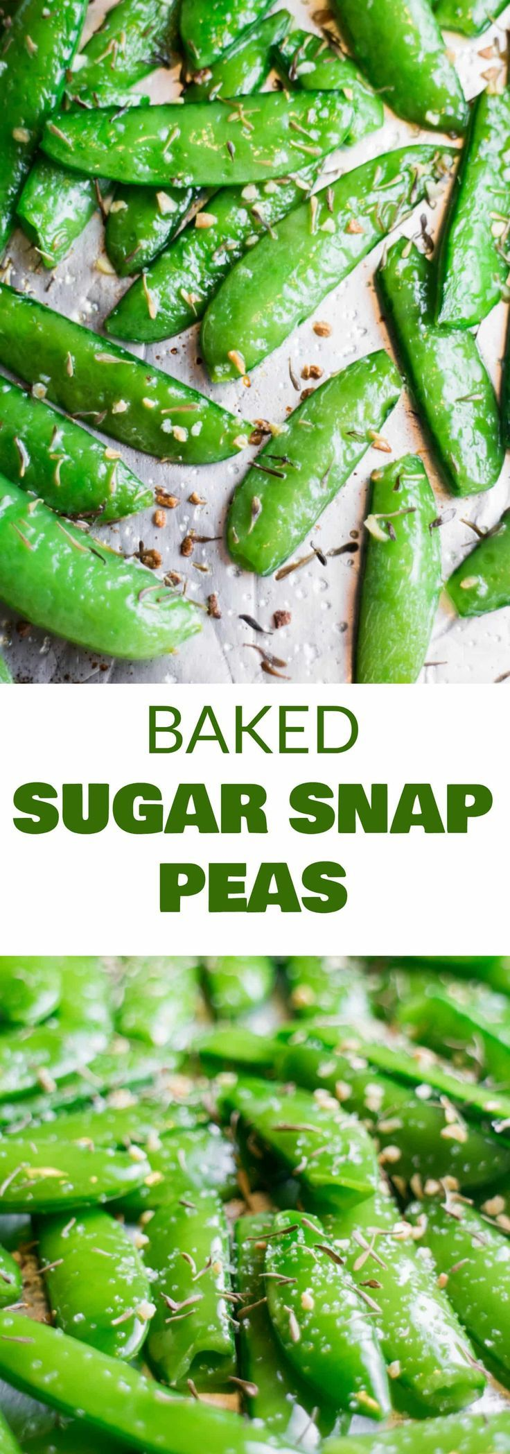 Roasted Sugar Snap Peas HEALTHY Roasted Sugar Snap Peas are easy to make and ready in 8 minutes! Sprinkle with garlic, thyme and salt for a healthy snack! Adults and kids both love this easy delicious pea recipe!