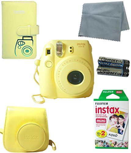 Fujifilm Instax Mini 8 Instant Film Camera Yellow 5 Pc Deluxe