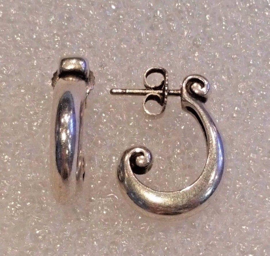 Retired James Avery Sterling Silver Curved Scroll Post Earrings Htf Jamesavery Drophoop Fine Earrings Post Earrings Earrings