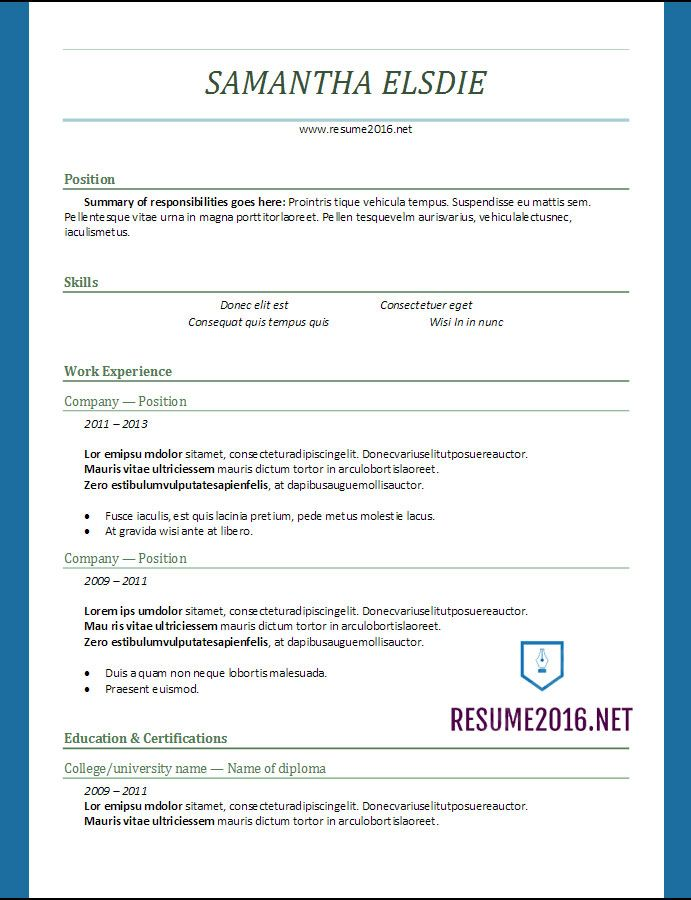 resume format 2017 CV Pinterest Resume format, Latest resume - resume format for freshers bca