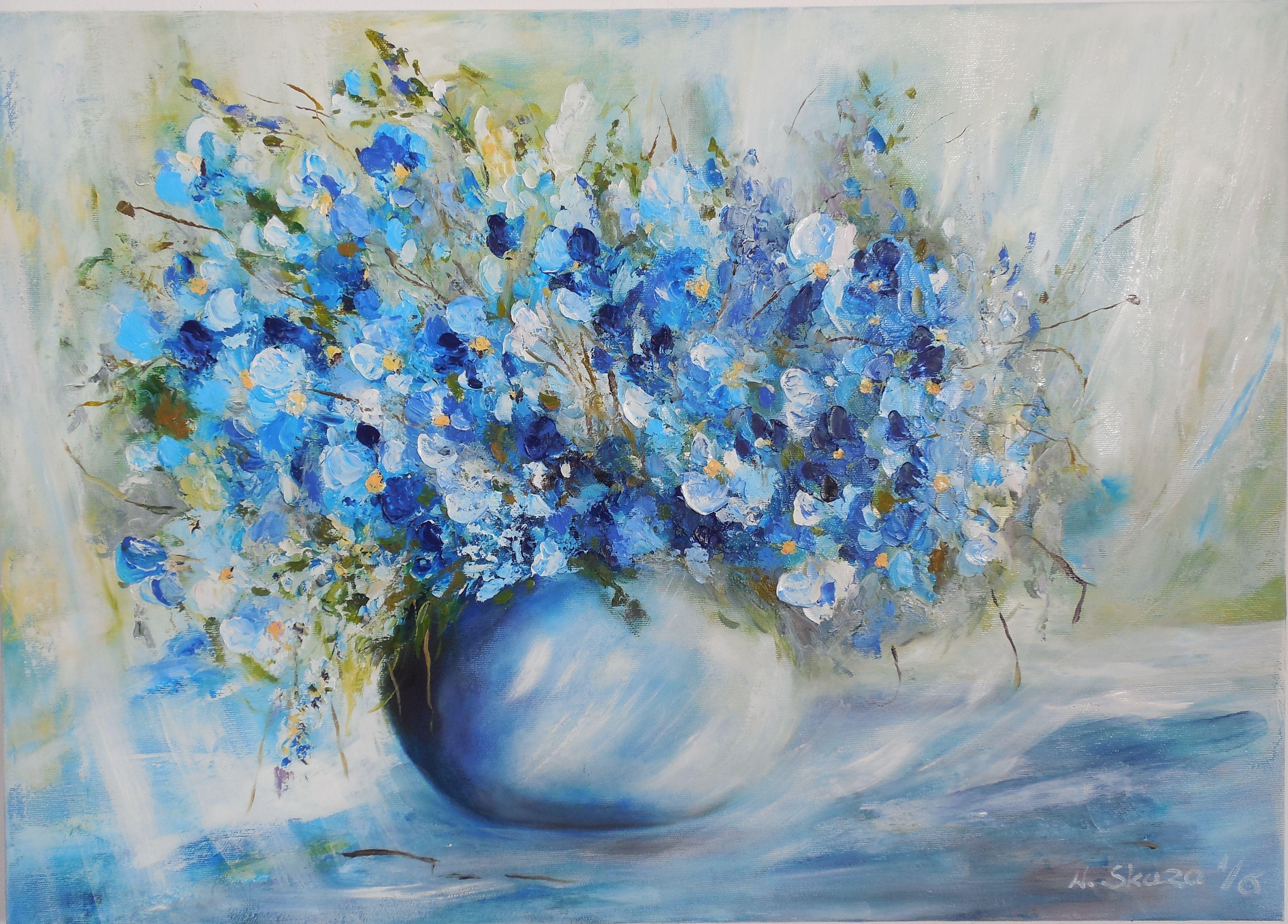Obraz Olejny Kwiaty Bukiet Niebieskie Kwiaty Malarstwo Abstract Flowers Painting Original Paintings