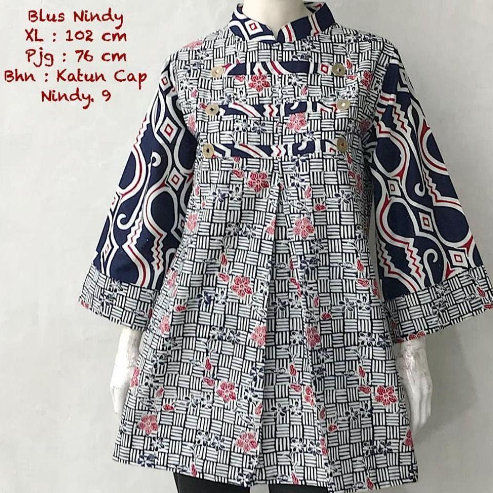 Model Baju Tunik Batik Yardage di 2020 | Desain blus, Baju ...