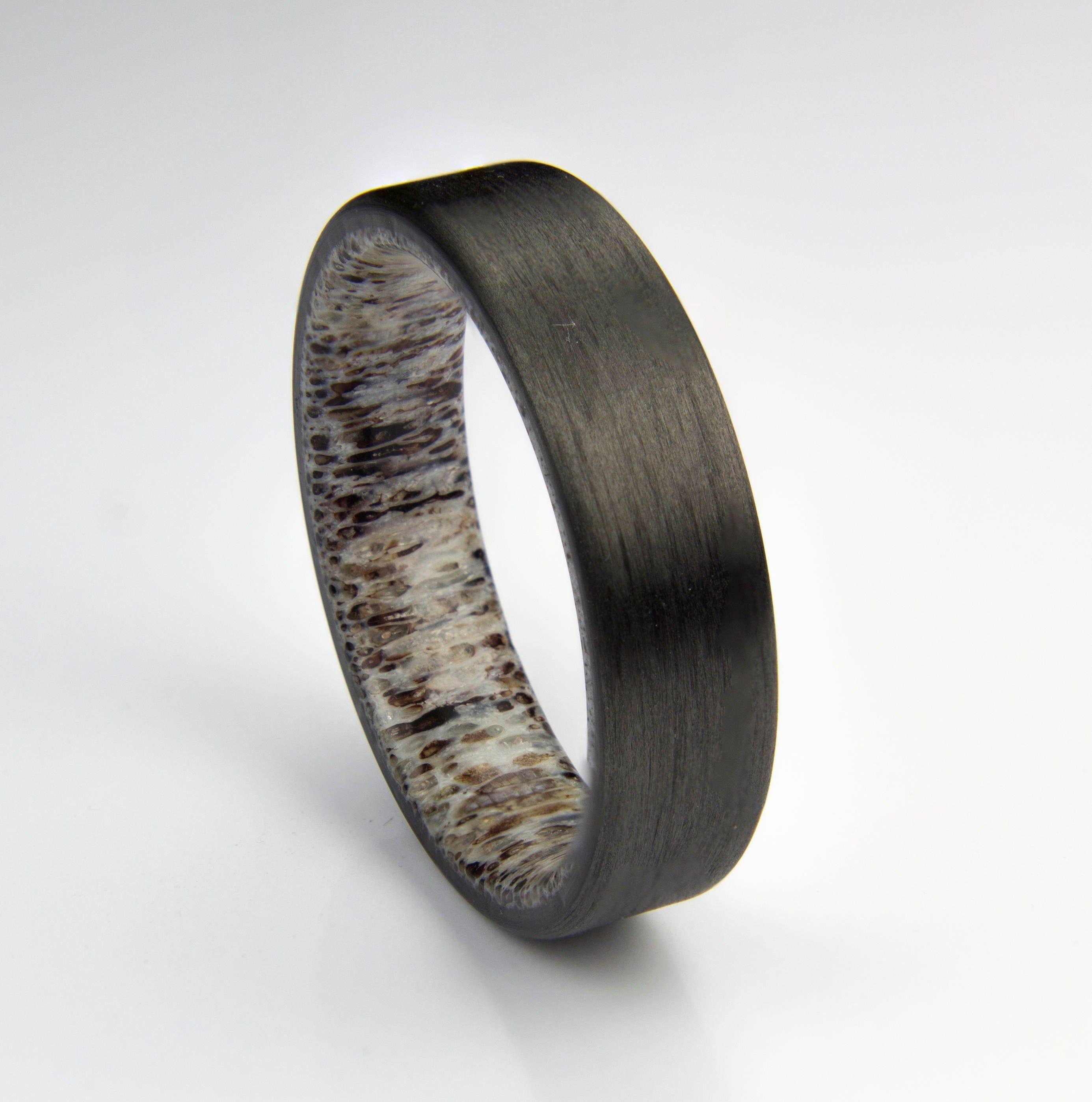 Carbon Fiber Ring, Elk antler liner, Wedding Band, Jewelry