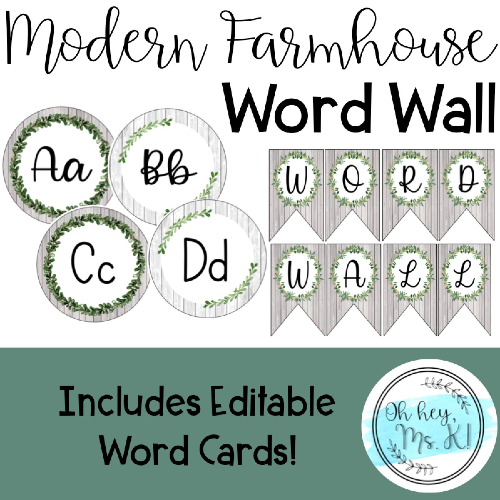 EDITABLE Modern Farmhouse Word Wall Cursive alphabet