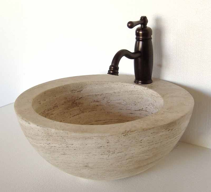 Travertine Sink Natural Stone Vanity Bathroom Omara
