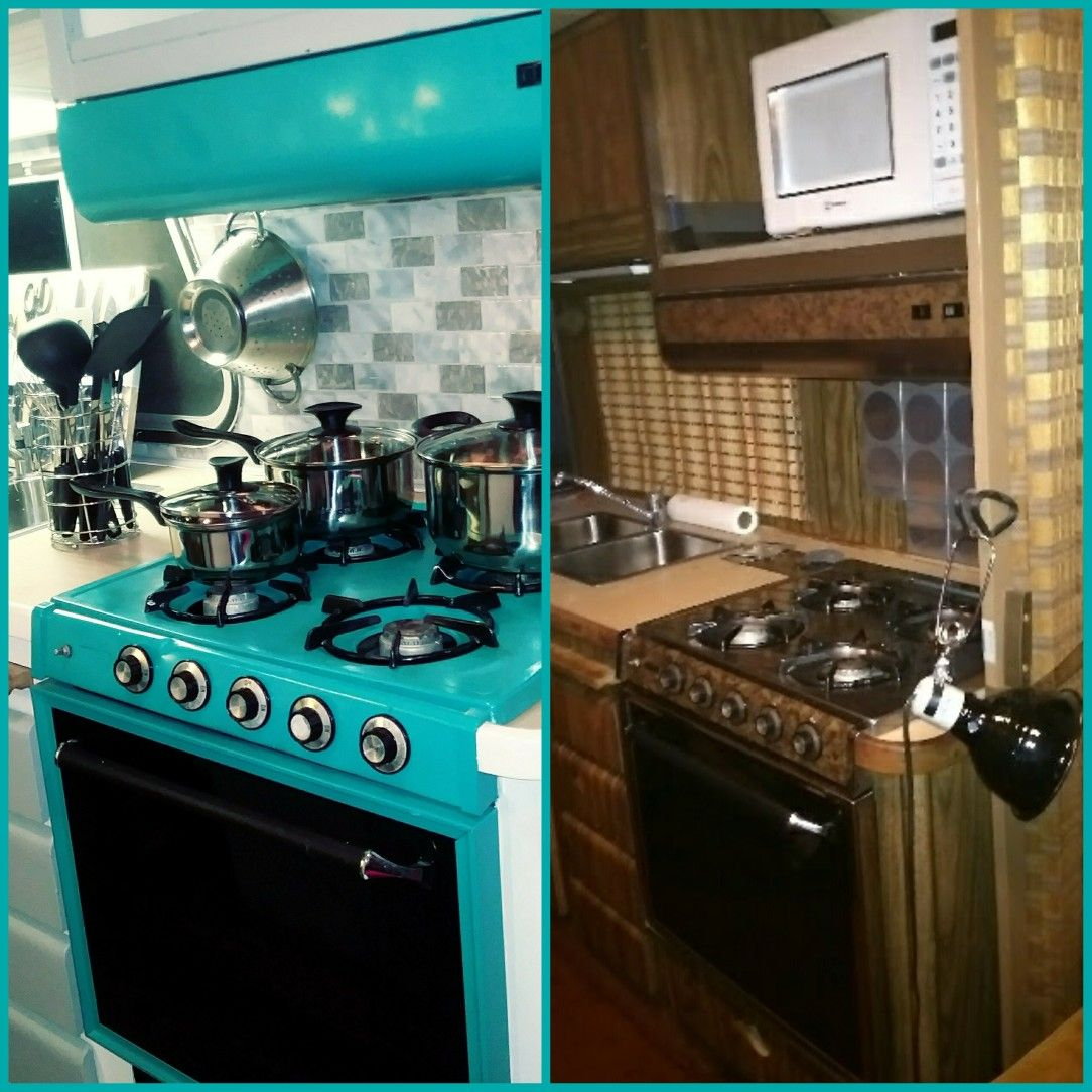 red camper stove re-paint Travel trailer stove. Red and black rv ...