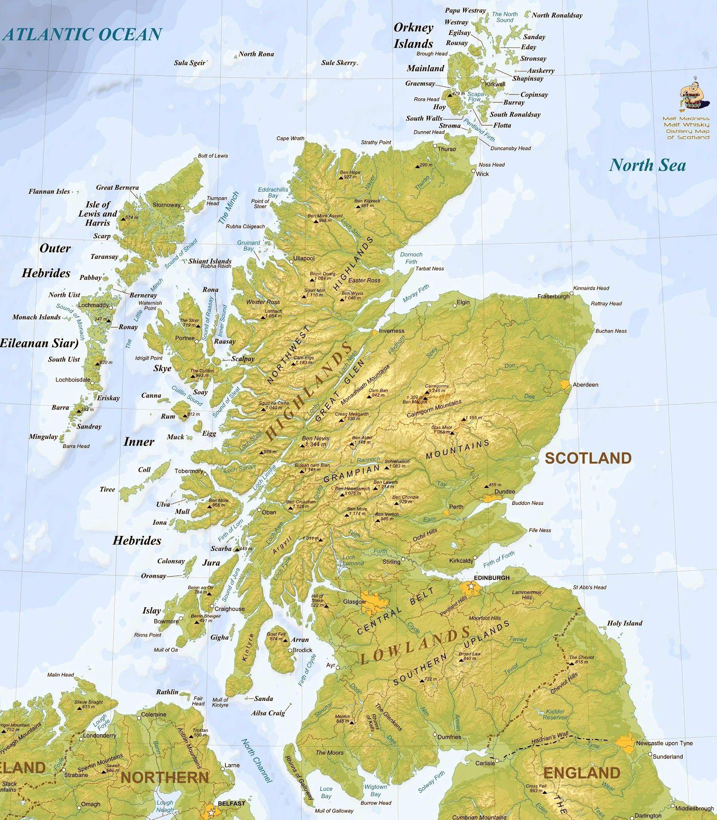 Bra Karta Over Alla Destillerier Pa Skottland Skottland Resor