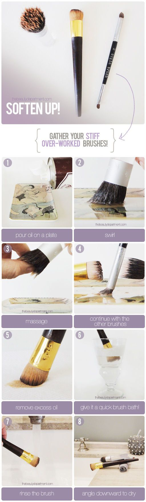 To soften overworked, stiff brushes, massage some oil into the brush before…