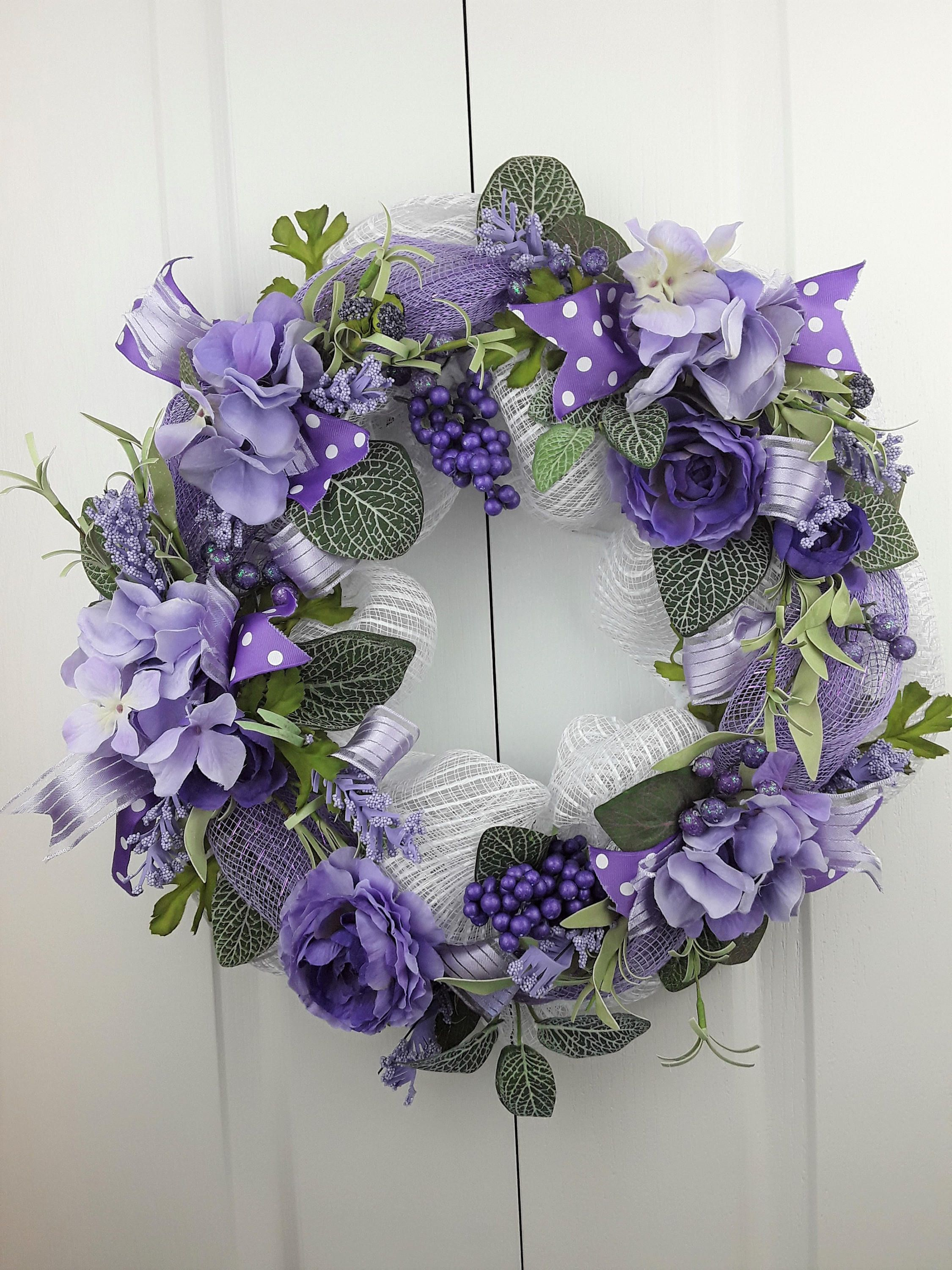 Spring Front Door Wreath Mauve White Deco Mesh