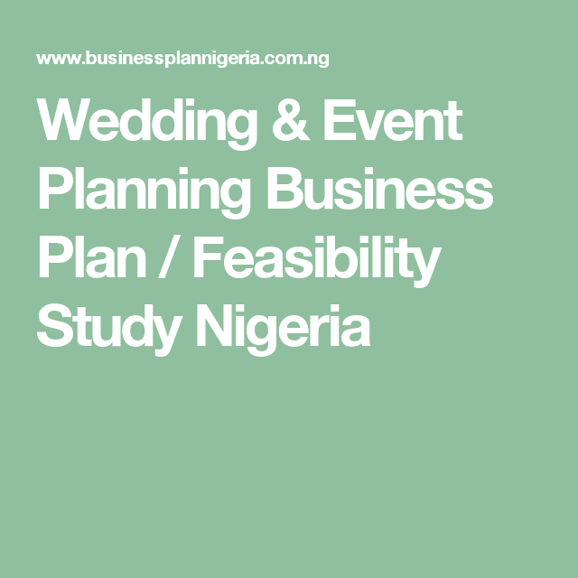 Wedding  Event Planning Business Plan  Feasibility Study Nigeria