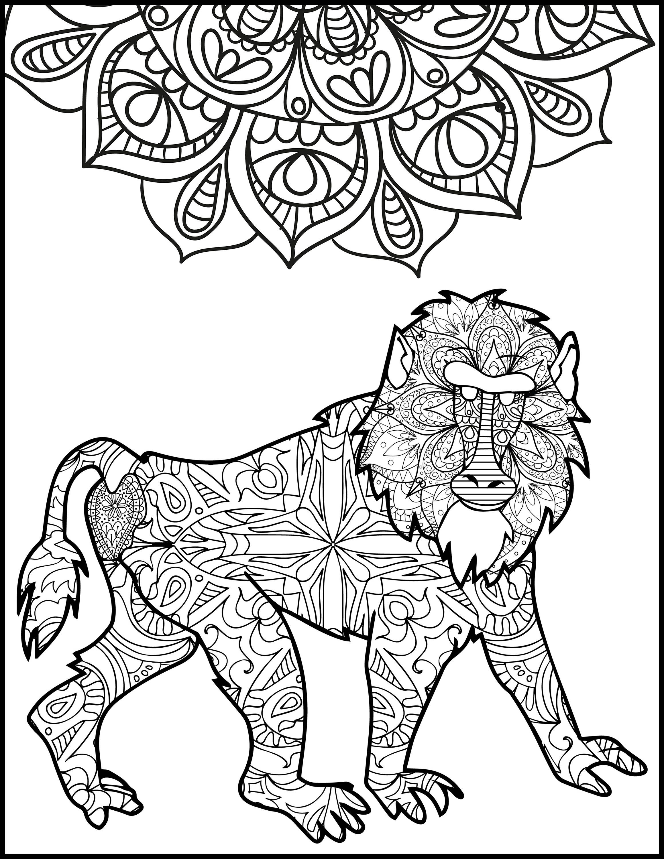 Baboon Adult Coloring Pages Coloring Page For Adults Animal