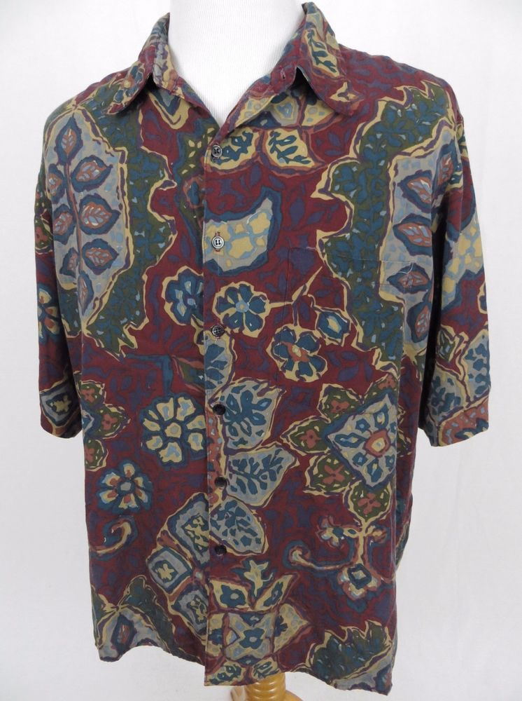2871f1f6 Reyn Spooner Hawaiian Shirt XL Floral Watercolor Retro Wool Tribal Aloha  Camp #ReynSpooner #Hawaiian