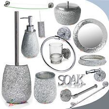 981740d3c4e8 Silver Mosaic Sparkle Mirror Bathroom Accessory Set Crackle Glass ...
