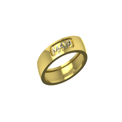 Yellow and white gold engagement rings with name engraved for both