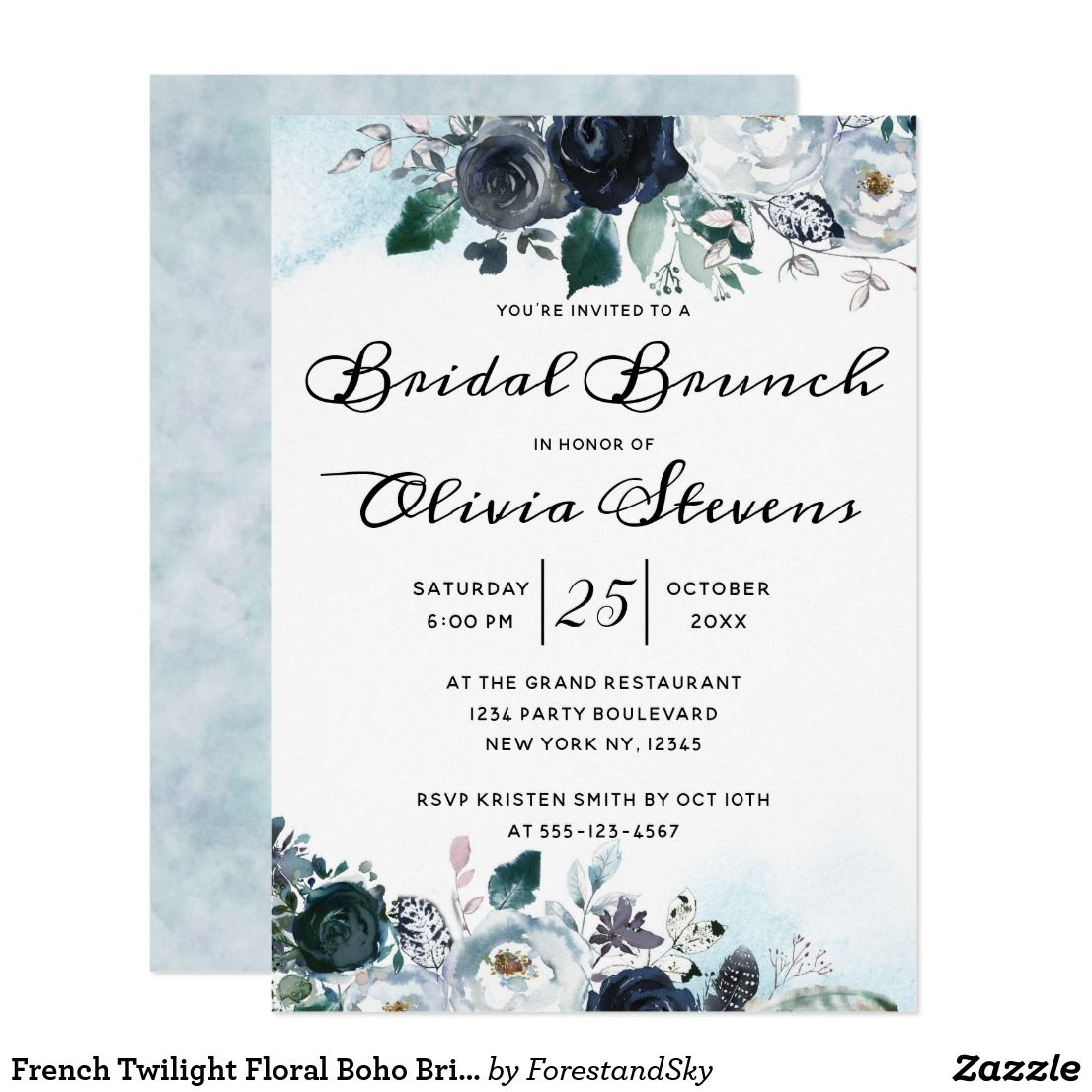 French Twilight Floral Boho Bridal Shower Brunch Invitation in