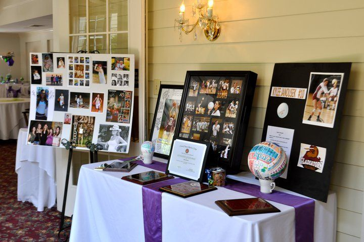 Graduation Party Set Up Table For Displaying Pictures Football Articles Awards Etc