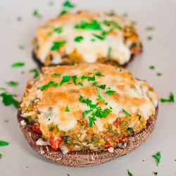 Stuffed Portobello Mushrooms - these mushrooms are stuffed with lots of veggies plus goat cheese and topped with mozzarella cheese.