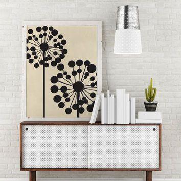 Black Dandelion, Mid Century Modern, Wall Art, Flower Wall De.