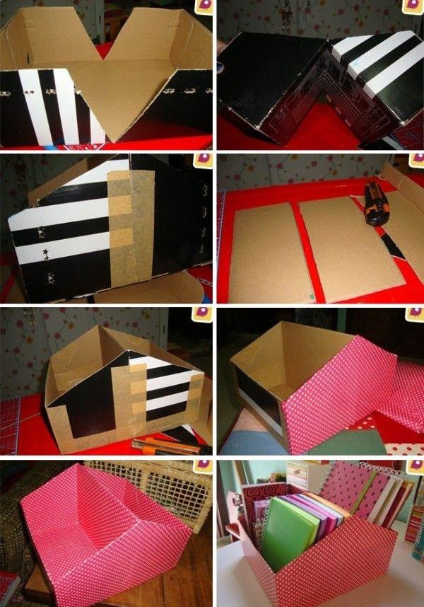 9cec66a84 Organizér z krabice od topánok kreativita.info DIY nápad s návodom 2 ...