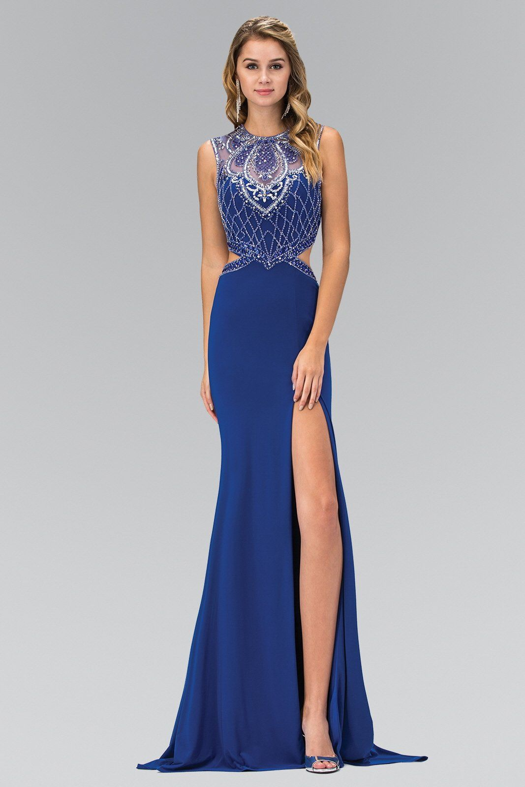Gls jersey gown with slit cut out sides illusion beaded