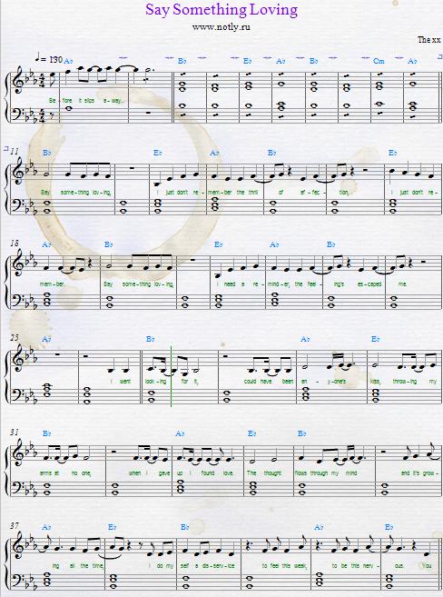 The Say Something Loving Pdf Piano Sheet Music