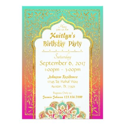 Bollywood Arabian Nights Birthday Invitation Card foil leaf gift