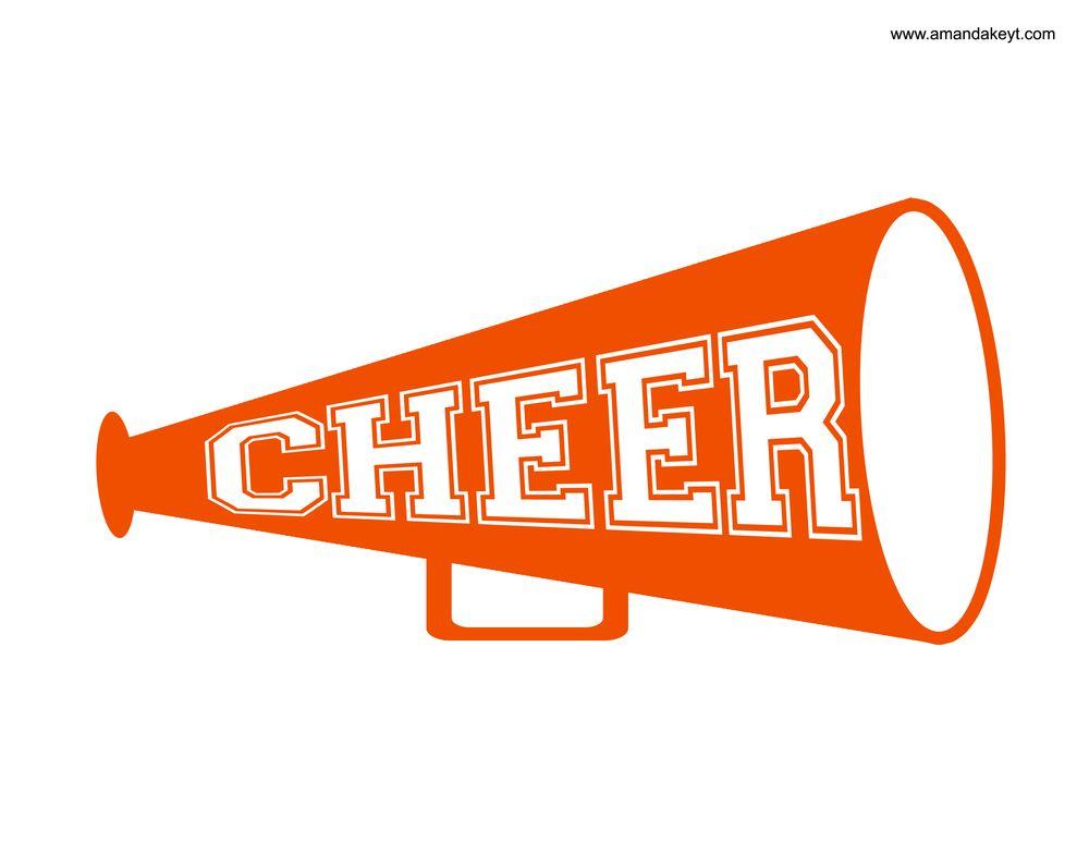 Cheerleader orange. Megaphone from blue printable