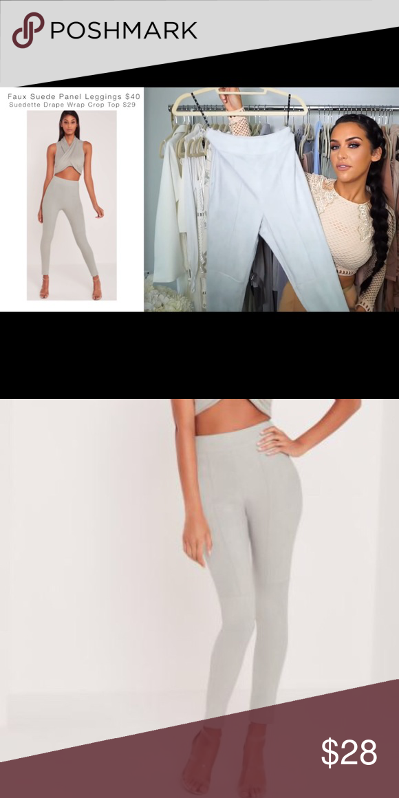 a5eb5ab62509d8 Carli Bybel X Missguided Faux Suede Panel Leggings Blue-Gray Faux Suede  Panel Leggings.