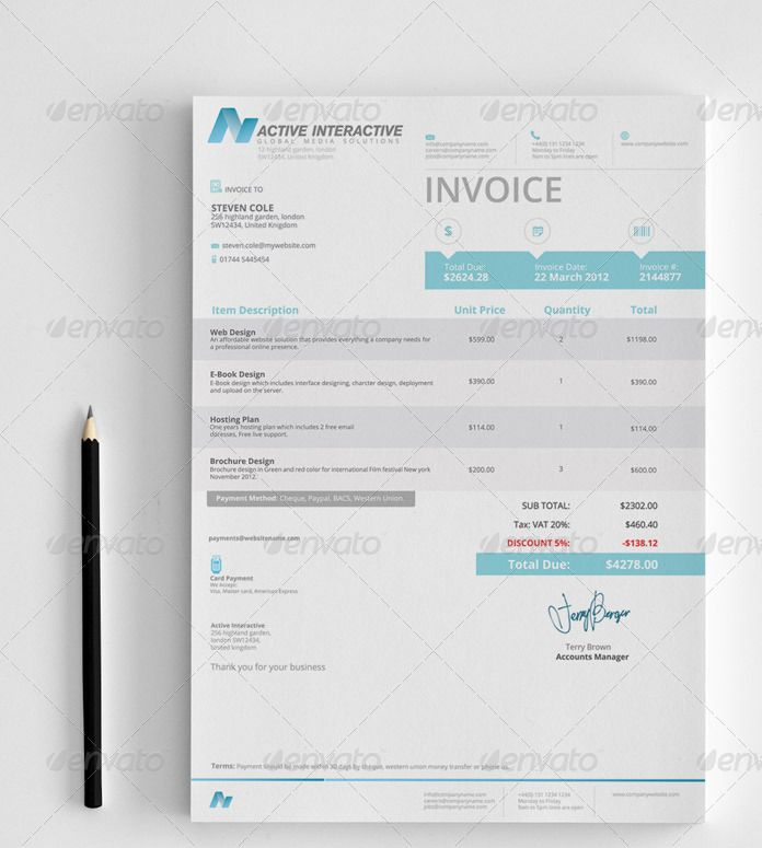 Invoices Adobe illustrator and Adobe