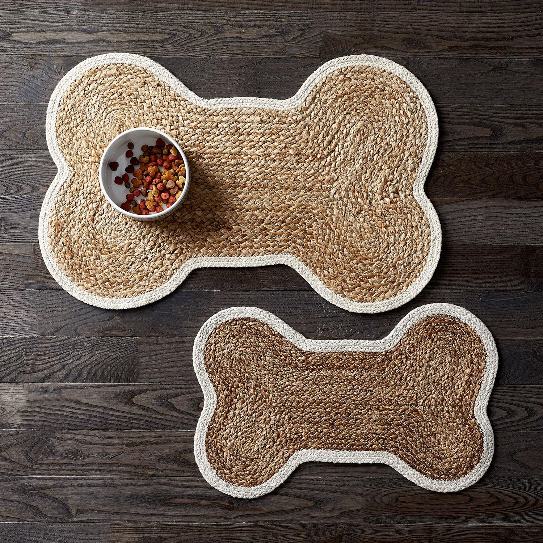Dog Bone Feeding Mat Natural Dog Bowl Mat Dog Food Mat