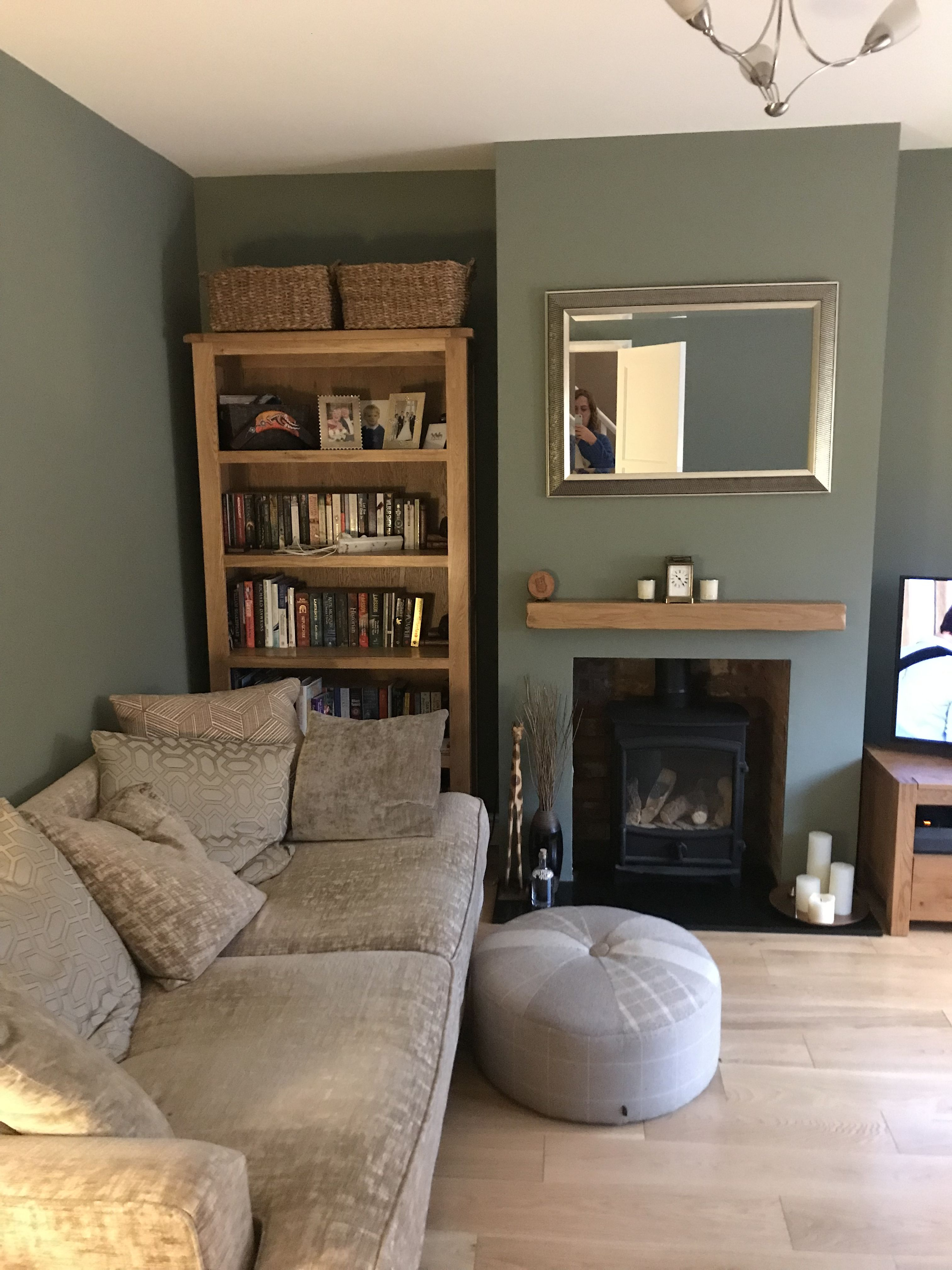 Living Room Rebrand Green Living Room Decor Feature Wall Living Room Sage Green Living Room #sage #walls #living #room