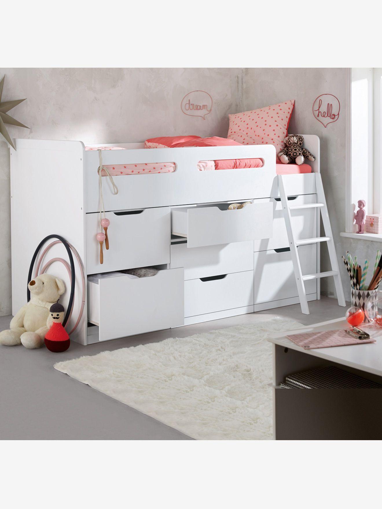 Combine Lit Enfant Avec Rangements Ligne Passe Passe Xxl Blanc Vertbaudet Loft Betten Bett Kinderzimmer Kinderzimmer Dekor