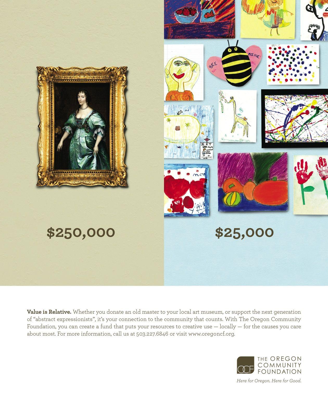 Oregon Community Foundation Print Ad: Masters vs. Kids