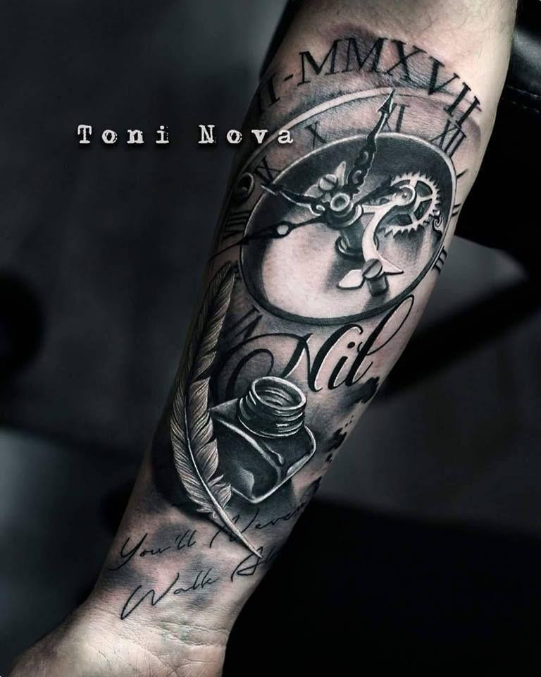 One Of My Favorite 3d Clock Tats Clock Tattoo Wrist Tattoos