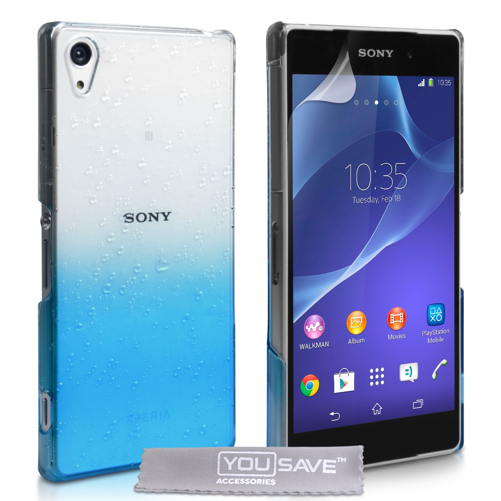 f788a239d141 YouSave Sony Xperia Z2 Raindrop Hard Case - Blue-Clear