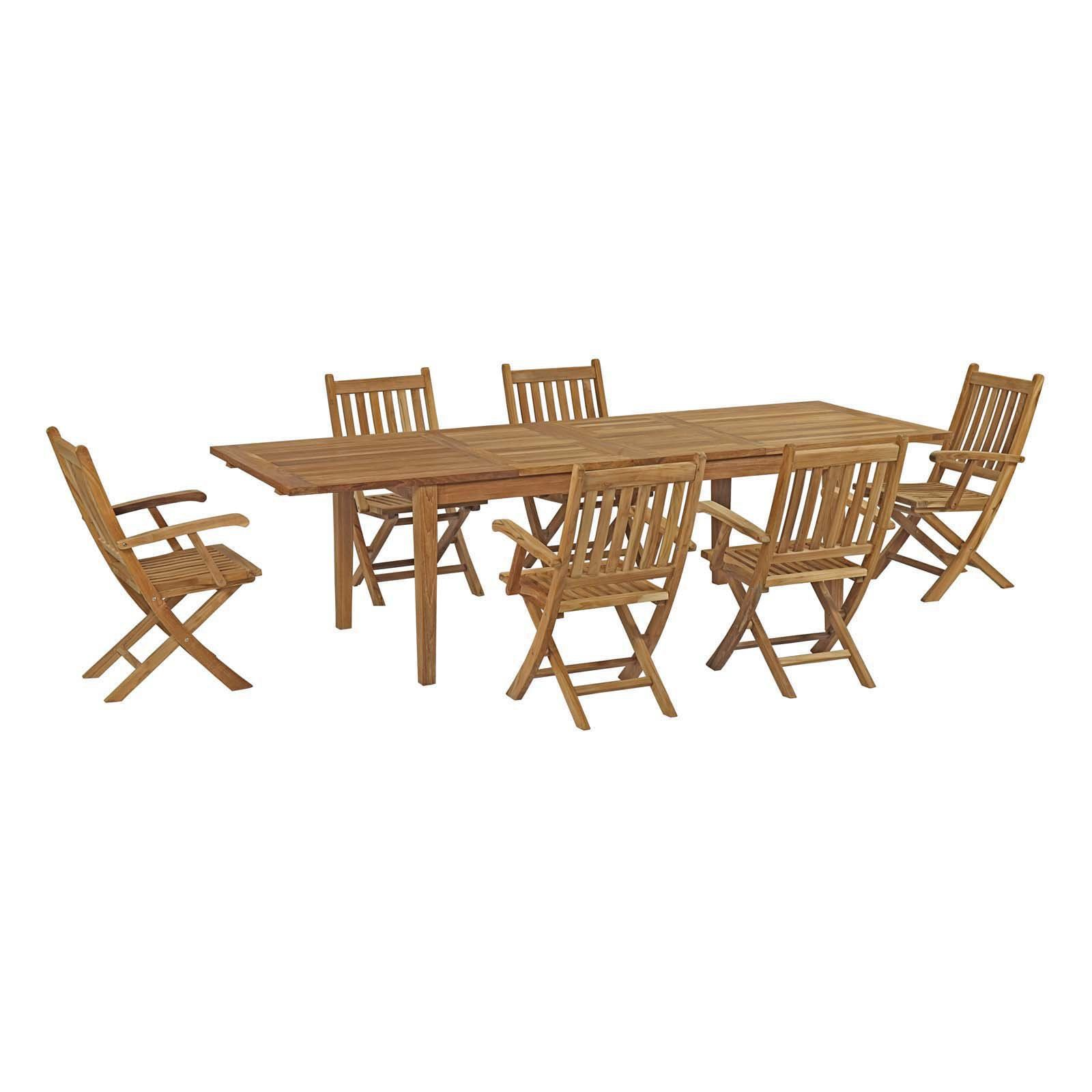 Vermont Extendable Garden Table And Chair Set: Outdoor Modway Marina Teak 7 Piece Patio Extendable Dining