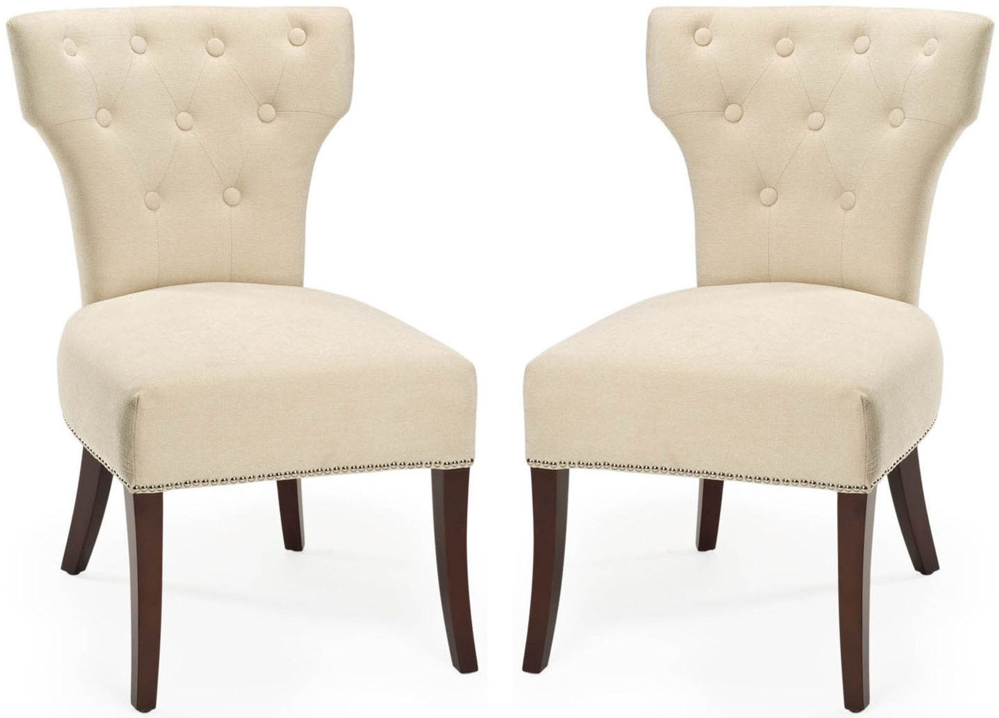 Safavieh Broome Tufted Side Chair W Nickel Nail Heads Set Of 2