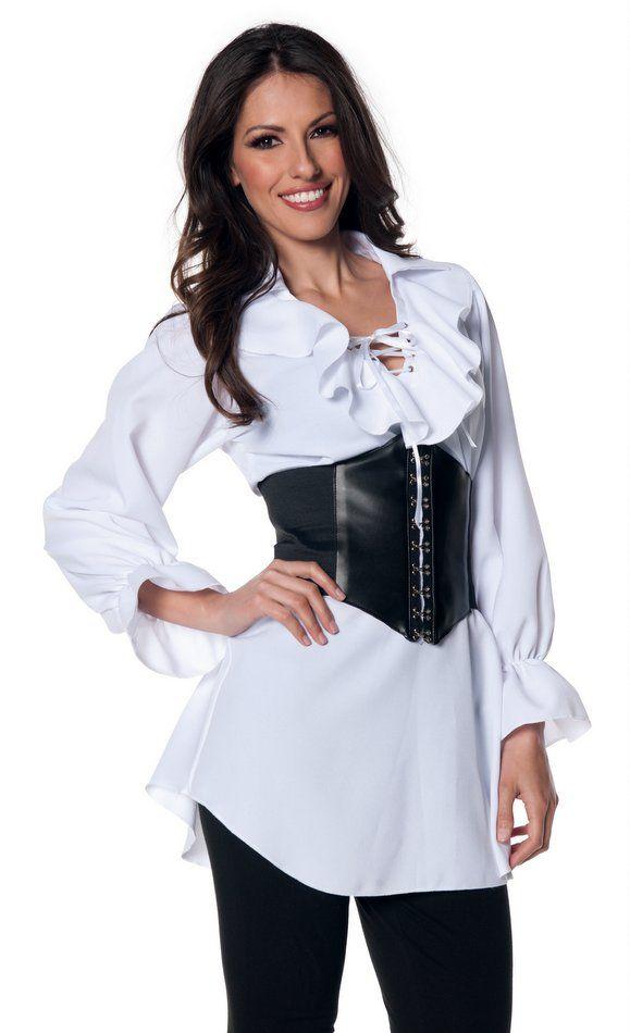 Charades Womens South Seas Pirate Black Shirt Blouse